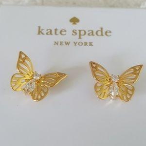 NWT 12K Gold  Kate Spade Social Butterfly Earrings